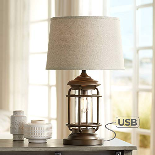 Andreas Industrial Table Lamp with Nightlight and USB Port Brown Metal Oatmeal Fabric Tapered Drum Shade Antique LED Edison Bulb for Living Room Bedroom Bedside Nightstand Office - Franklin Iron Works