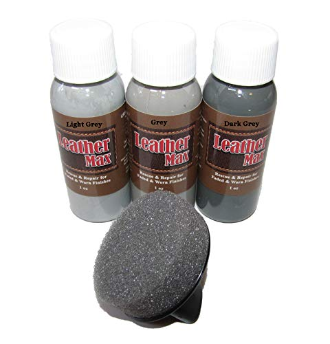 Leather Max Quick Blend Refinish and Repair Kit, Restore Couches, Recolor Furniture & Repair Car Seats, Jackets, Sofa, Boots / 3 Color Shades to Blend with/Leather Vinyl Bonded and More (Grey Mix)