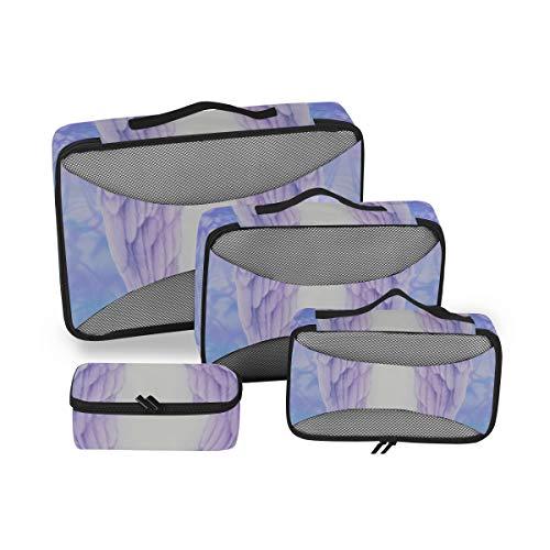 Cubo de Embalaje Organizador de Equipaje de Viaje Obra de Arte Alas de ángel Azul Cubos...