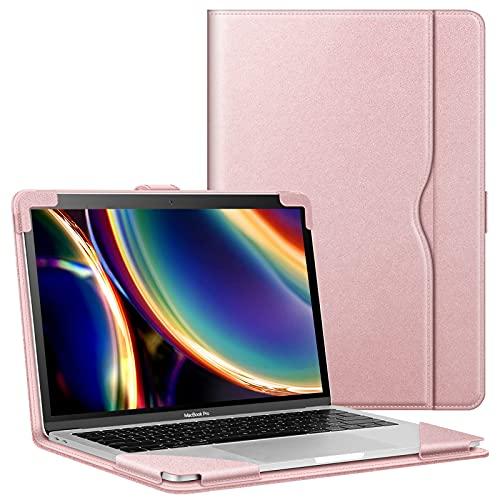 FINTIE Funda para MacBook Air 13 (2020-2018), Compatible con MacBook Pro 13 (2020-2016), Estilo de Libro Carcasa Protectora de Cuero Sintético con Bolsillo, Oro Rosa