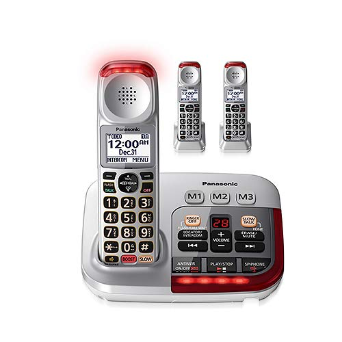Panasonic KX-TGM450S + (2) KX-TGMA45S with Volume Boost Control for Amplified Caller Voice Cordless Telephone with Digital Answering Machine-3 Handset