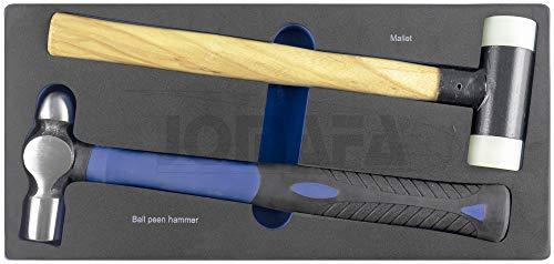 Modulo de martillos mango de madera antirebote y mango fibra, 2 piezas (AZUL)