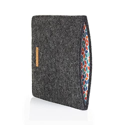 SmukBird - Hülle für Tolino Vision 4 HD | aus echtem Filz + Baumwolle | anthrazit | Design: Colorful