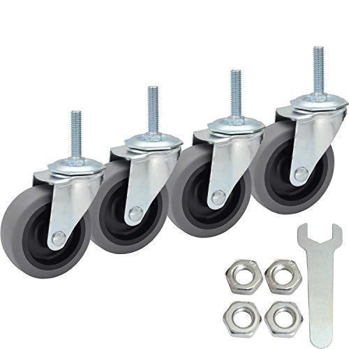 MySit Casters Wheels, 3-Inch Threaded Stem TPR Caster 3/8