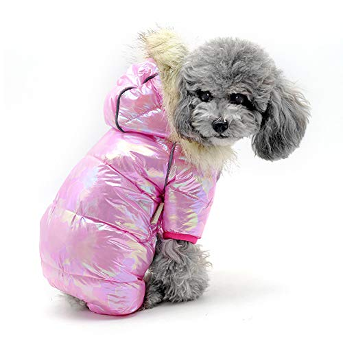 Ladysdress Reflective Dog Coat Waterproof Pet Snowsuit Warm Fleece Lining Dog Jacket Cozy Four-Legged Doggie Vest(Pink ,Medium)