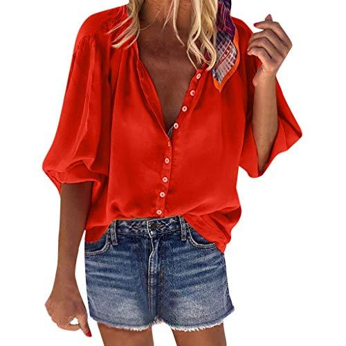 Ouice Damenhemd, Bohemian, schick, Strand, Freizeit, Mode, einfarbig, bedruckt, bequem, S-2XL Gr. X-Large, 18 - Rot