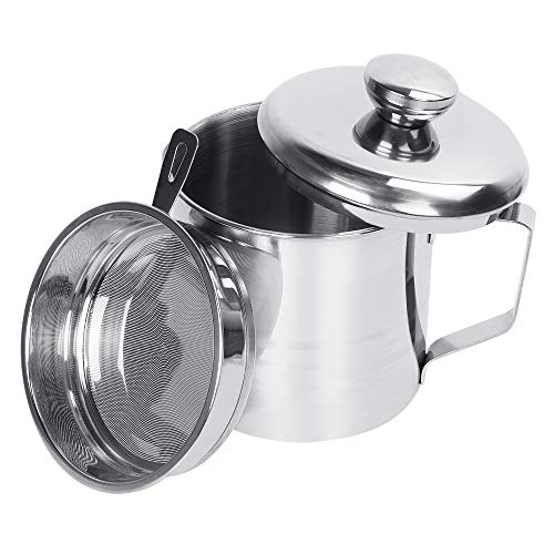 Bacon Grease Container, KMEIVOL Grease Can with Strainer Large, 1.2L/5 Cups Stainless Steel Kitchen Oil Container, Left Cooking Oil Can