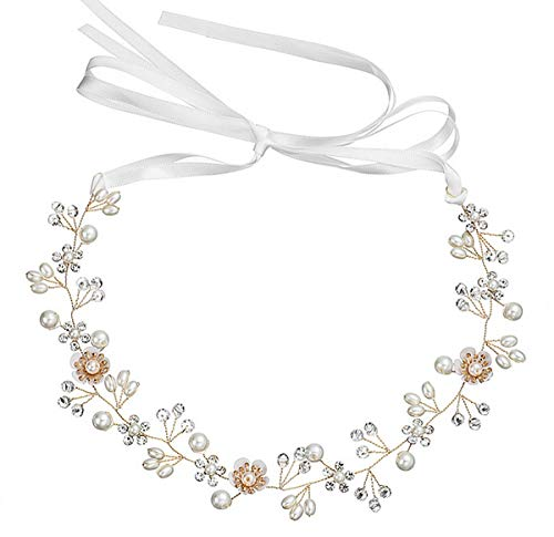 Damen Haarschmuck Haarband Haarreif Haarbänder Haardeko Perlen Blätter Blatt Hochzeit Braut gold silber Edelschmuck Schmuck Accessoires (gold royal)