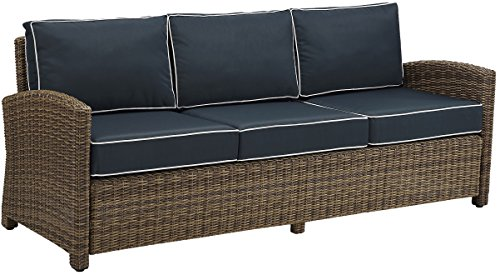 Crosley Furniture Bradenton Outdoor Wicker Patio Sofa with Cushions - Navy