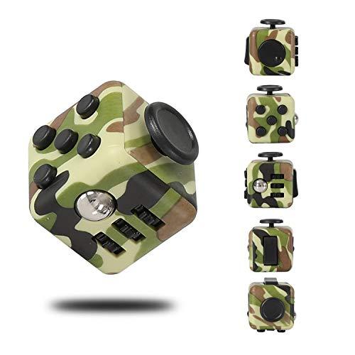 Fidget Cube zur Reduzierung von Stress/Angstgefühl, Tarnfarbe / Grün Fidget Cube Spielzeug für Erwachsene und Kinder