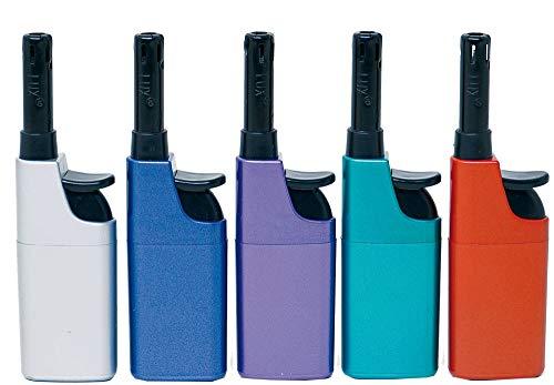 Fzg Stabfeuerzeug 10,5cm metallic farbig 5er Pack Leichtbedienung Seniorengerecht Anzünder BBQ
