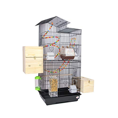YIXIN2013SHOP Birdcage Roof Top Large Metal Bird Cage Parrot Cage Large Domestic Budgerigar Cage Parakeet Cockatiel Small Parrot Travel Cage w/Ladder Hanging Toys Bird Carrier
