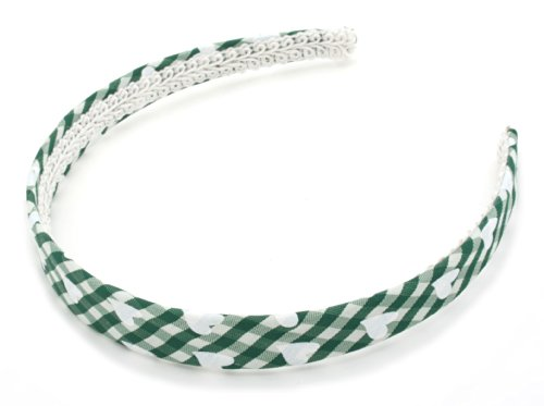 Green and White Chequered Pattern Alice Band Hair Accessories by Zest by Zest