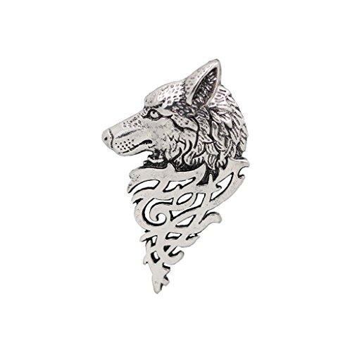 Herren Schmuck, Brosche Nadel, Wolf Muster, Anzug Zubehör, Hochzeitsschmuck - Antikes Silber