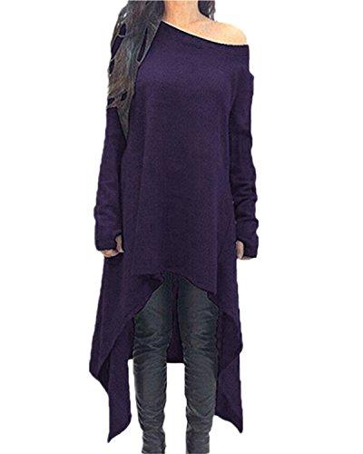 ZANZEA Damen Unregelmäßige Strick Oversize Langarm Pullikleid Longshirt Top Minikleid Lila EU 44/Etikettgröße XL