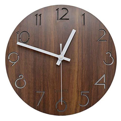 ARLT 12 Pulgadas Vintage arabe Numeral diseño Estilo rústico país de Madera Decorativo Reloj de Pared Redondo (Color : Brown, Sheet Size : 12 Inch)