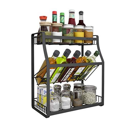 Küchen-Gewürzregalrzregal für Arbeitsplatten, Edelstahl 304, 3-lagig, 45 x 18 x 40 cm, schwarz, robust, schön, langlebig