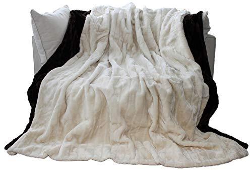 Manta de piel sintética de primera calidad / cuadros 200 x 150 cm gris