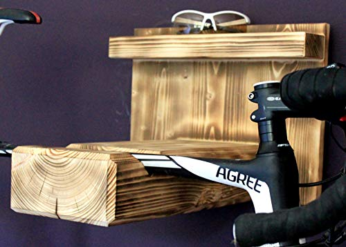 Homeclassics Fahrrad Wandhalterung aus geflammten Holz für Rennrad oder Mountainbike Fahrradhalter - Exklusive Fahrradhalterung für die Wand – auch für breite Lenker