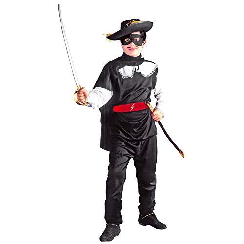 WIDMANN Zorro Bandito Mascherato Casacca Pantaloni Cintura Mantello Mascherina Costumi 180 per Bambini, Multicolore, 140 Cm (8-10 Anni) 8003558383870