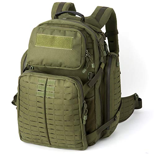 MT Military Medium Rucksack MOLLE Army Tactical Assault Backpack, 3 Day Pack for Camping, Hiking, Bug Out, Olive Drab