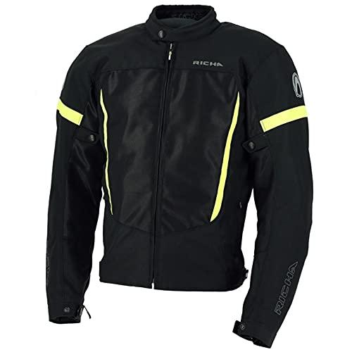 Richa Motorradjacke mit Protektoren Motorrad Jacke Airbender Textiljacke schwarz/gelb L, Herren, Tourer, Ganzjährig