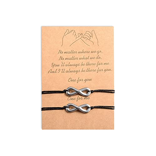 Cheerslife 2Pcs Forever Bracelet Jewelry Cuerda ajustable Cordón Lucky Charm Joyas trenzadas hechas a mano para el mejor amigo Regalo para pareja Madre Hija