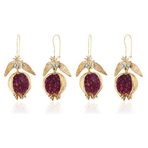 ERHETUS Golden Women's Hoop Earrings Fashion Simulated Pomegranate Female Ear Jewelry