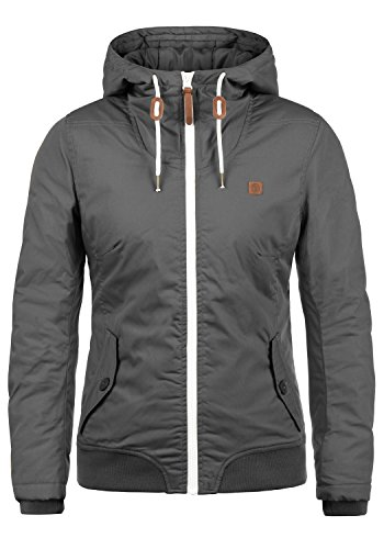 DESIRES Tilla Damen Übergangsjacke Jacke gefüttert mit Kapuze, Größe:XL, Farbe:Dark Grey (2890)