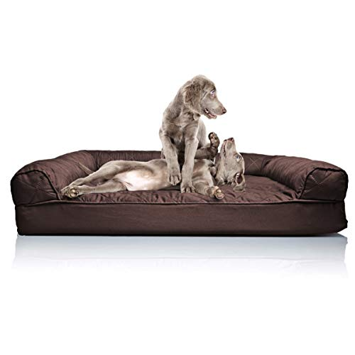 Furhaven Pet Dog Bed - Orthopedic Quilted Traditional Sofa-Style Living Room Couch Pet Bed w/ Removable Cover for Dogs & Cats, Coffee, Jumbo