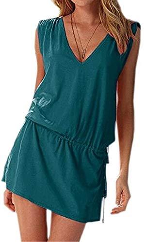 Moceal - Vestido sin mangas para mujer, de verano, sexy, para la playa, informal, tallas grandes, para cócteles, ceremonias, fiestas verde oscuro S-XL