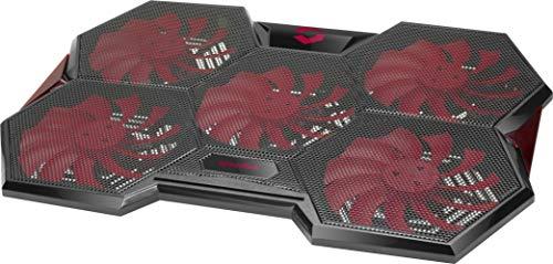Speedlink ICELAND Notebook Cooler - Raffreddatore portatile con illuminazione LED rossa - Alimentazione tramite USB-A - Piedini rivestiti in gomma, colore: Nero