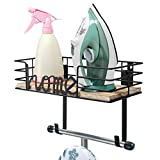 TJ.MOREE Ironing Board Hanger - Laundry Room Iron and Ironing Board Holder, Metal Wall Mount with Large Storage Wooden Base Basket and Removable Hooks (Black)