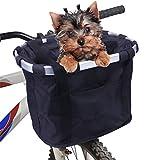Vikaster Fahrradkorb Vorne Abnehmbarer Mehrzweck-Fahrradkorb Fahrrad Lenker Korb für Haustiere Easy Install Abnehmbare Lenkerkorb Tasche für Kleiner-Hund-Einkaufen-Picknick,Shopping, Pendler, Camping