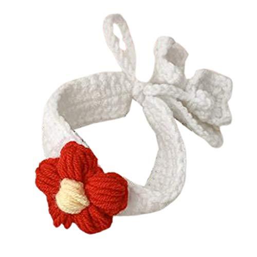 Baiyao Mujeres Niños Niñas Accesorios para el pelo de lana sintética hecho a mano de punto flor roja clip de arco Pasadores Broche Pin Ponytail Holder pulsera