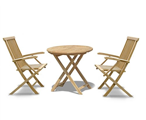 Jati Lymington Teak Garden Dining Set - Round Folding Table 0.8m and 2 Newhaven Armchairs Brand, Quality & Value