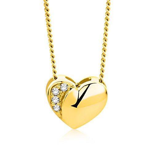 Orovi Collana - Pendente - Ciondolo Donna Cuore con Catena in Oro Giallo con Diamanti Taglio Brillante Oro 18 kt /750 Catenina Cm 45