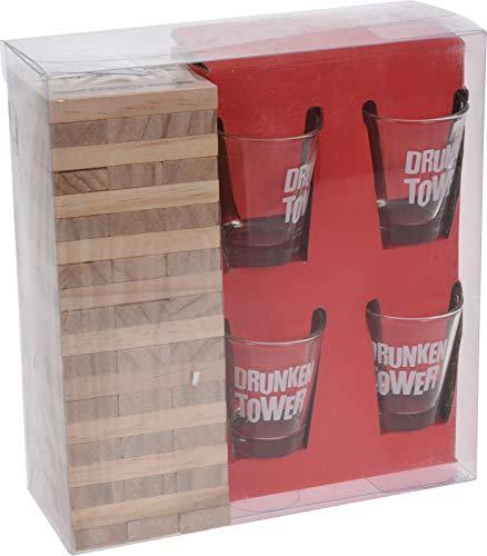Smart Planet Juego de beber para fiestas – Drunken Torre – Juego de 4 vasos de chupito – Juego de beber con torre de madera para cumpleaños y Nochevieja