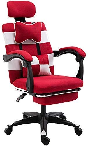 ZTBXQ Home Küche Schlafzimmer Home Computer Stuhl Adult Esports Spielstuhl Student Drehstuhl Bürostuhl Office Boss Stuhl Stuhl mit Fußstütze (Farbe: Rot Größe: 60cm * 60cm *