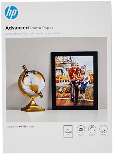 HP Advanced Glossy Photo Paper, Q5456A, 25 hojas de papel fotográfico satinado avanzado, compatible con impresoras de inyección de tinta, A4, peso del material de impresión 250 g/m²