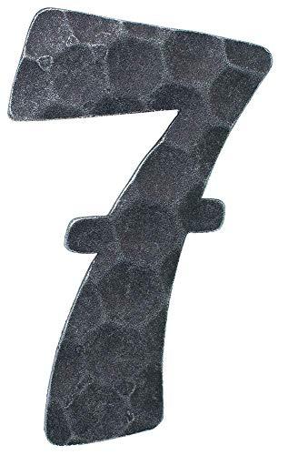 Fenau | Hausnummer 7 | Abmessung 12x8 cm | Material 4 mm gehämmert | Stahl (Roh) S235JR | Hausnummern aus Stahl/Schmiedeeisen/Rustikal, Nummer 7