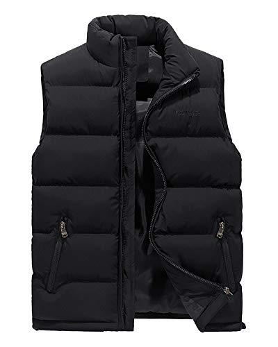 AnyuA Herren Steppweste Weste mit Reißverschluss Taschen Futter mit Kletttasche Schwarz S