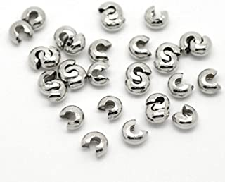 200pc Silver Tone Crimp Bead Covers Findings 4mm(1/8