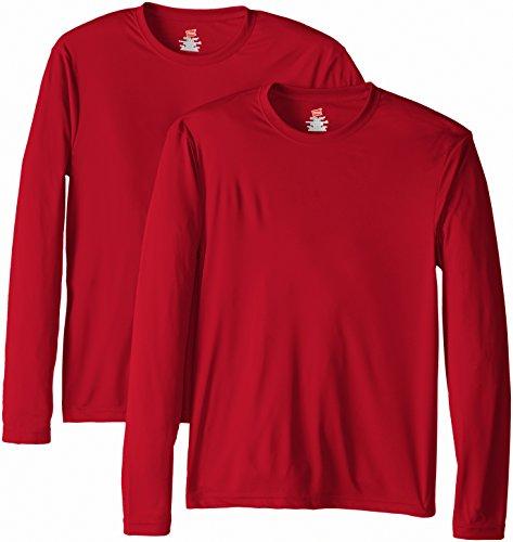 Hanes Men's Long Sleeve Cool Dri T-Shirt UPF 50+, Small, 2 Pack ,Deep Red