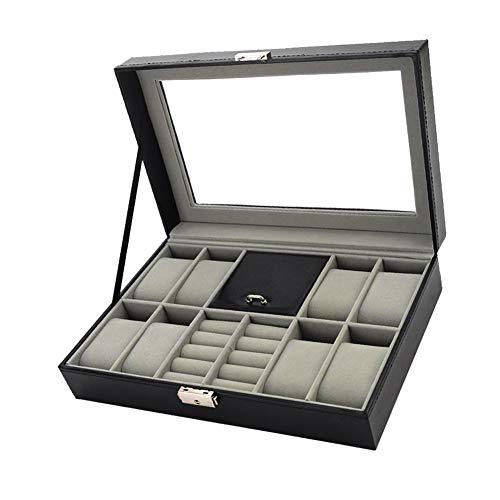 Feibrand Caja de Reloj Caja de Almacenamiento de Joyas de 8 Ranuras con Tapa de Vidrio
