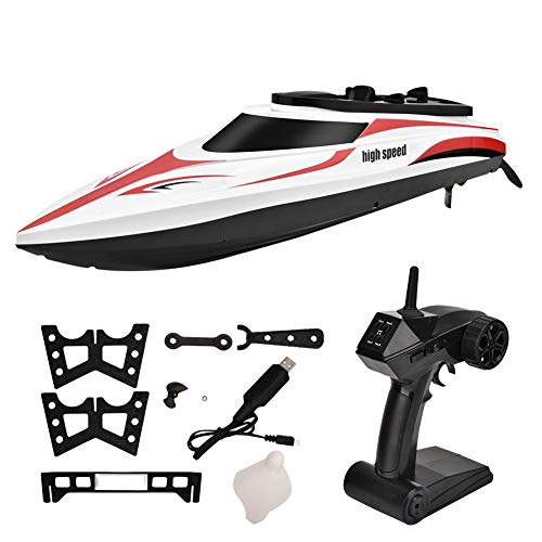 RC Boot - 2,4 GHz 4 Kanäle 25km/h Hochgeschwindigkeits Ferngesteuertes boot für See/Pool/Teich Elektro RC Rennboote Speedboot Ferngesteuert Schnellboot für Erwachsene & Kinder - RC-Modellboot