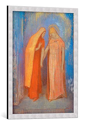 Kunst für Alle Cuadro con Marco: Odilon Redon La Visitation - Impresión artística Decorativa con Marco, 55x75 cm, Plata cepillada