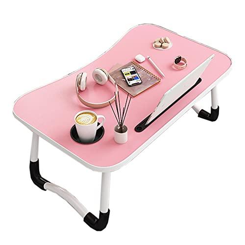 HYYYH Mesa de Cama para portátil, Mesa de Desayuno con Soporte para portátil y Ranura para Tazas para sofá, Cama, terraza, balcón, jardín (Color : Pink, Size : 60 * 40 * 28cm)