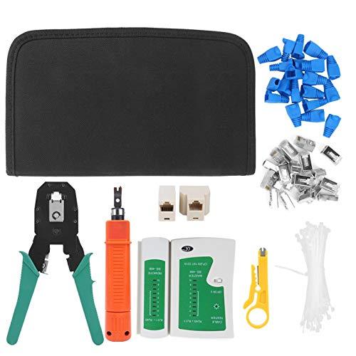 Ausla Kit de Herramientas de Reparación de Red 9 Piezas, Herramientas de Prueba de Red Kit de Mantenimiento de Red ABS + Metal para Hogar Oficina Tienda de Reparación