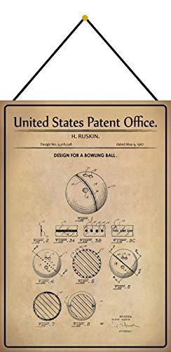Generisch Patent Entwurf für eine Bowlingkugel 2 20 x 30 Blechschild Metallschild Schild mit Kordel Metal Sign 20 x 30 cm